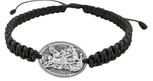 Adjustable Cord Bracelet with Saint Micahel Medal Charm & Black Cord