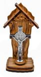 "4"" Olive Wood Catholic Devotional Shrine (Saint Benedict Cross)"