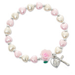 Girls Communion Bracelet, Deluxe Stretch Bracelet with Rhodium plated miraculous medal and crucifix