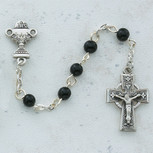 SS 5MM BLK CELTIC COMM ROSARY