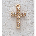 "16"" GOLD PEARL CROSS PENDANT"
