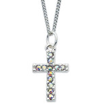"CRYSTAL CROSS WITH 16"" CHAIN"