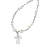 "16"" PEARL NECKLACE W/CRYSTAL"