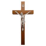 "6"" Walnut Crucifix Silver Corpus"