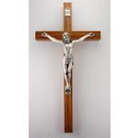 "10"" Walnut Crucifix Silver Corpus"