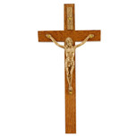 "10"" WALNUT CRUCIFIX Gold Corpus"