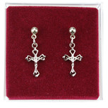 Rhodium Plated Crucifix Earrings