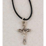 "PEWTER CRUCIFIX 18"" CORD/CARD"