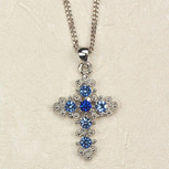 BLUE CRYSTAL CROSS/CARDED