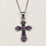 AMETHYST CROSS CARDED