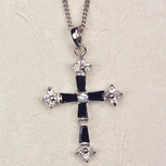 BLACK C. ZIRCONIA CROSS CARDED