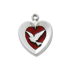 RF RED ENAMEL HEART W/DOVE 18""
