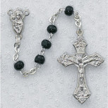 4MM BLACK WOOD ROSARY BOXED