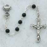 5MM BLACK GLASS COMM ROSARY