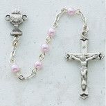SS 5MM PINK PEARL COMM ROSARY