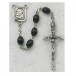 4X6MM BLACK WOOD PAPAL ROSARY