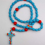 BLUE & MULTI WOOD BABY ROSARY