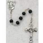 SS 5MM BLACK WOOD ROSARY