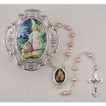 Guardian Angel Rosary Box with Pink Rosary