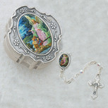 GUARDIAN ANGEL CRYSTAL ROSARY WITH BOX