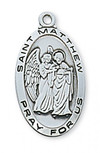 """St. Matthew medal with 24"""" chain Sterling Silver with gift box."""