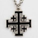 BLACK JERUSALEM CROSS CH & BOX