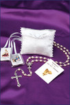 White Satin First Communion Rosary Kit