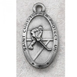 "PEWTER  OVAL HOCKEY 24"" CHAIN CARDED"""