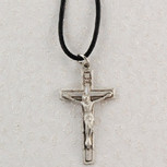 PEWTER CRUCIFIX 18 LEATHER CORD""
