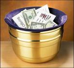 Large Lenten Offering Pot, Brass Offering Pot with Velvet Bag