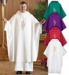 Catholic Chasuble with Alpha Omega and Cross Design Set