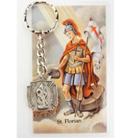 PEWTER ST FLORAIN KEYRING WITH