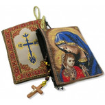 "Madonna Caressing the Christ Child Rosary Pouch 5 3/8""x4"""