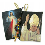 "Blessed Pope John Paul II & Divine Mercy Two Sided Rosary Pouch 5 3/8""x4"" (TIP6)"