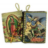 "Lady Guadalupe St Michael Two Sided Rosary Pouch 5 3/8""x4"" (TIP7)"