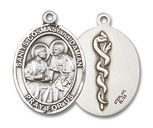 STS. COSMAS & DAMIAN/Doctors - Sterling Silver - 3/4x1/2