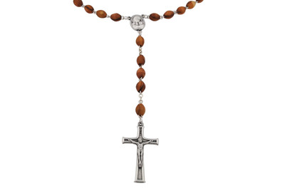 Catholic Olive Wood Rosary with Soil