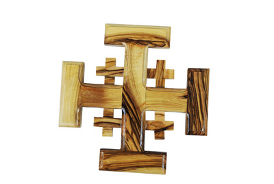 Jerusalem Olive Wood Cross 4''