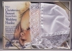 Baptism and Christening bonnet which can be used as Wedding hanky
