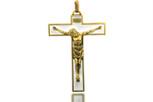 White Base Gold Trim Crucifix
