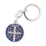 Saint Benedict Medal Key Chain with Colored Enamel