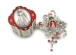 Divine Mercy Rosary with Red Enamel and Decorative Case