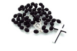 Black Wooden Rosary with Madonna Center Bead and Metal-Backed Crucifix