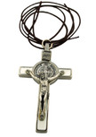 "3"" Colored Enamel St. Benedict Crucifix with Round St. Benedict Medal, Cord, and Booklet (Silver-tone w/ white enamel)"