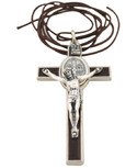 St. Benedict Crucifix with Oval St. Benedict Medal, Comes with Cord and Booklet Explaining the St. Benedict Medal (Silver-tone w/ Brown Enamel)