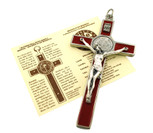 St. Benedict Wall Crucifix with Colored Enamel and Booklet Explaining the St. Benedict Medal (Red)