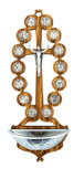 Olive Wood Stations of the Cross Holy Water Font (Beaded-Style)