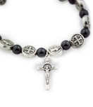 St. Benedict Medal Stretch Bracelet with Genuine Hematite Beads