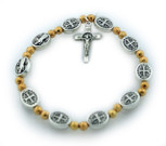 St. Benedict Medal Stretch Bracelet with Gold-Tone Beads