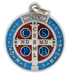St. Benedict Medal with Blue and Red Enamel (Lot of 1)